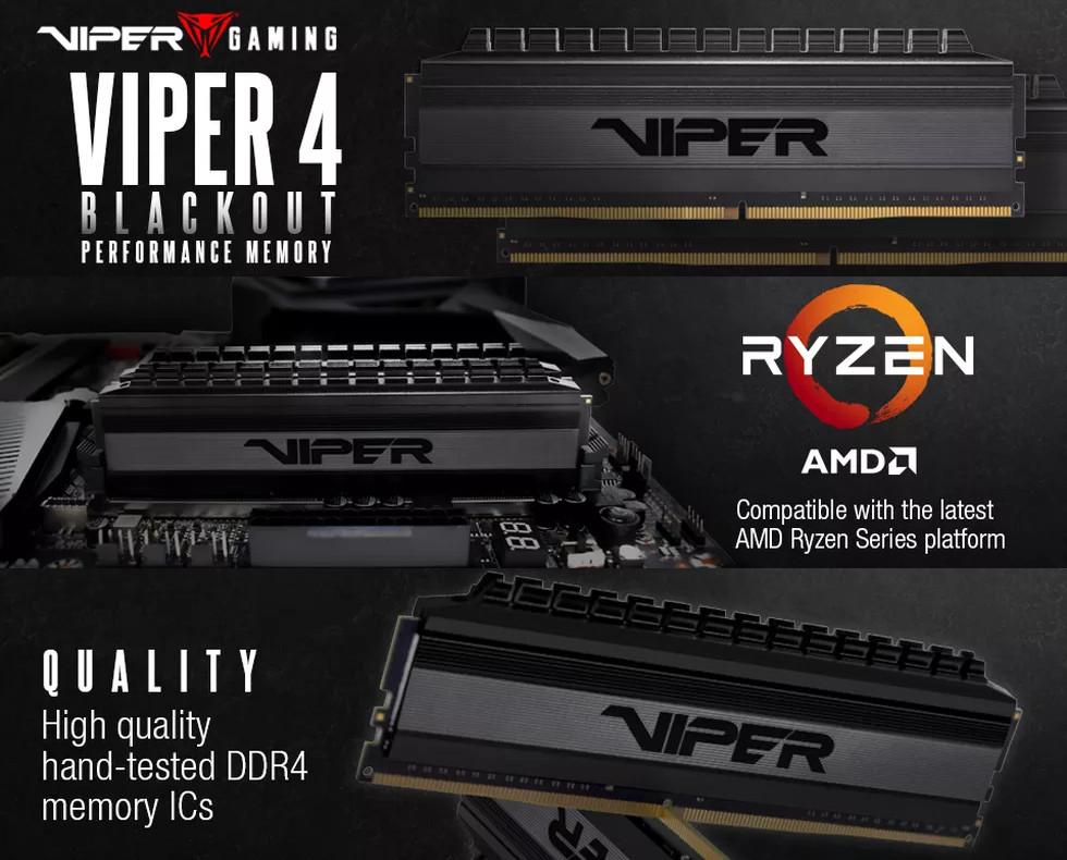 Patriot Viper 4 Blackout 16GB 3200MHz CL16 DDR4 KIT OF 2 ...